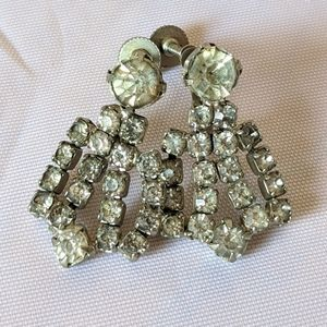 Vintage silver & clear rhinestone dangle earrings